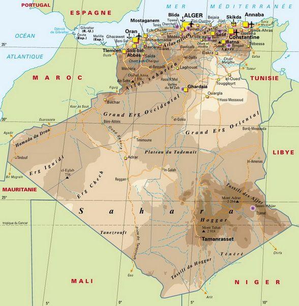 Carte géographique de l'Algérie